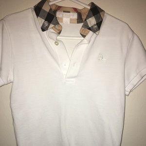 White polo shirt with plaid